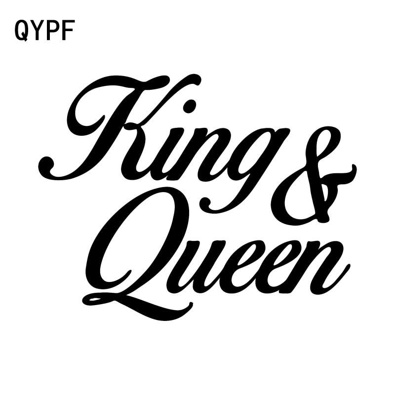 QYPF 16CM*12.4CM Fashion King & Queen Decoration Vinyl Car Sticker Decal Black Silver C15-2740