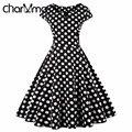 CharMma Плюс Размер 4XL Женщины Черный Полька Dot Pattern Dress Винтаж короткие Рукава Линия Midi Платье 50 s Высокой Талией Femme Халат