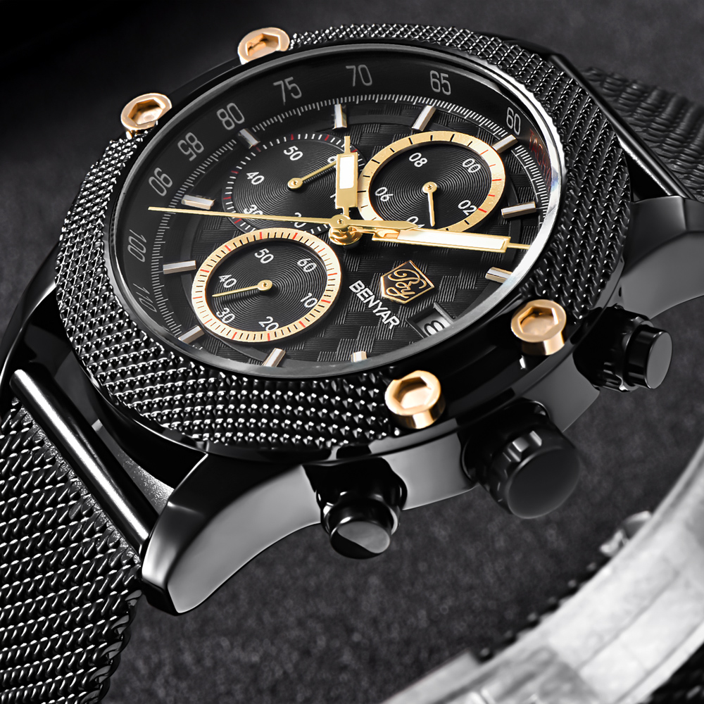 BENYAR Sport Chronograph Fashion Watches Men Mesh & Rubber Band Waterproof Luxury Brand Quartz Watch Gold Saat Dropshipping(China)