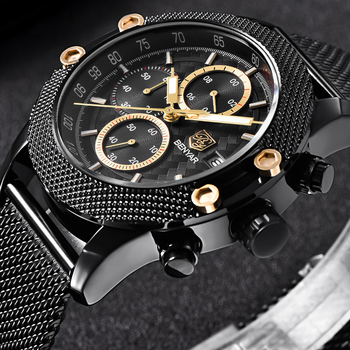 Black Sport Chronograph Mesh & Rubber Waterproof Luxury Brand Quartz Watch for Men