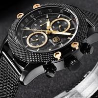 BENYAR Sport Chronograph Fashion Watches Men Mesh Rubber Band Waterproof Luxury Brand Quartz Watch Gold Saat