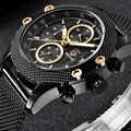BENYAR Sport Chronograph modne zegarki mężczyźni Mesh i gumką wodoodporny luksusowy zegarek kwarcowy marki złoty Saat dropshipping