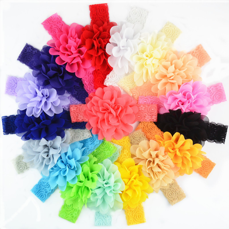 YWHUANSEN 18pcs/lot Chiffon Flower Newborn Headband Elastic Lace Bows For Girls Baby Hair Bows Hairbands Accessories For Girls