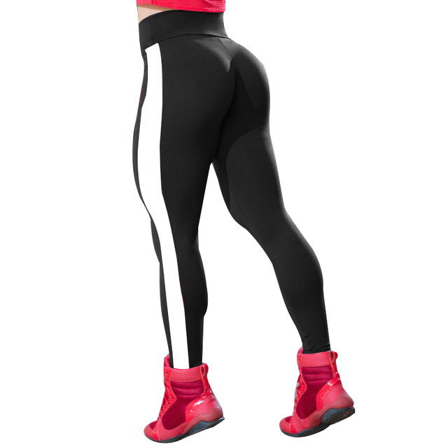 32a41c4f4edde NORMOV Leggings Women Activewear Pants Workout Polyester Leggins Activewear  Side Stripe Black Leggings Women S-XL