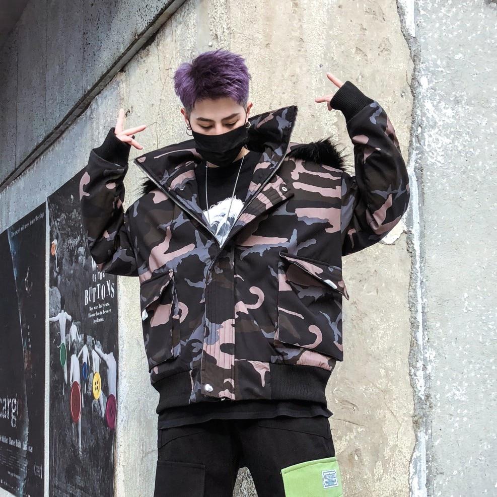 Hip Hop hiver veste hommes Camouflage Style de rue fourrure à capuche Parka homme réfléchissant Designer épais chaud Camo hiver manteau pour hommes