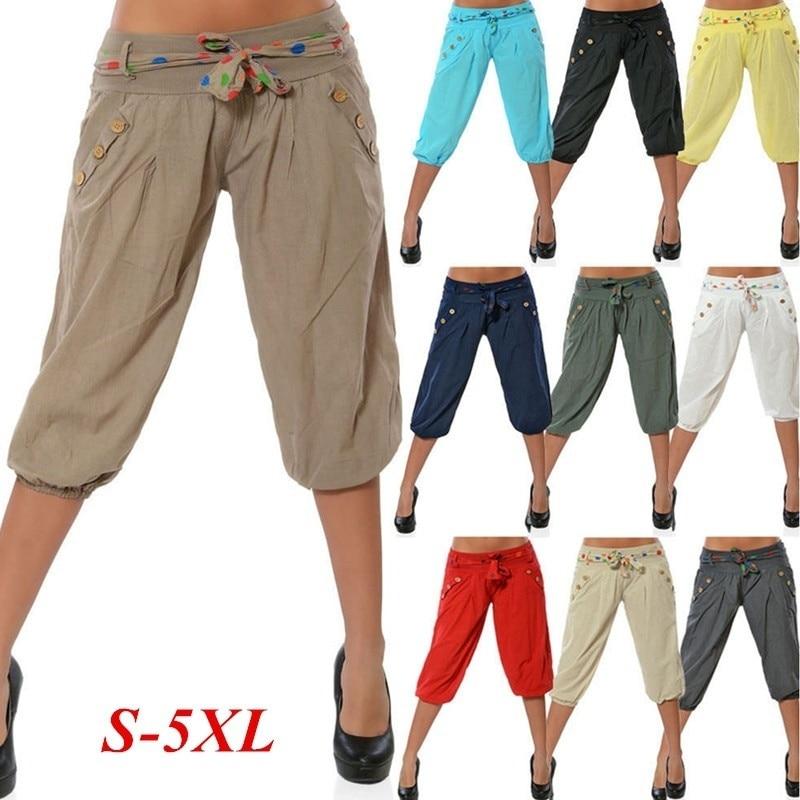 ZOGAA Women Sweatpants Fashion Boyfriend Knee Length   Capris   Candy Color Summer Casual Chino Harem   Pants   Plus Size Women Clothing