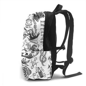 Image 3 - Sac à dos monodirectionnel, tatouage, sacoche sport, imprimé multi poches, pour adolescents, tendance, bonne qualité