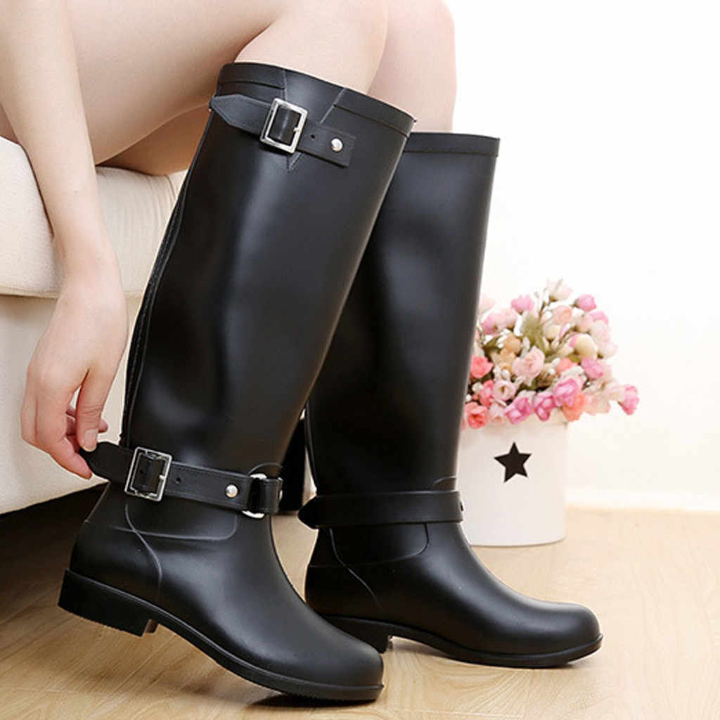 SAGACE/новые женские Модные непромокаемые сапоги женские водонепроницаемые сапоги Нескользящая длинная водонепроницаемая обувь корейские модели, сапоги для взрослых, 2019