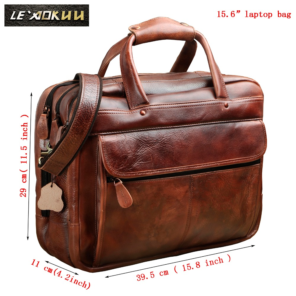 Men Oil Waxy Leather Antique Design Business Briefcase Laptop Document Case Fashion Attache Messenger Bag Tote Portfolio 7146c(China)