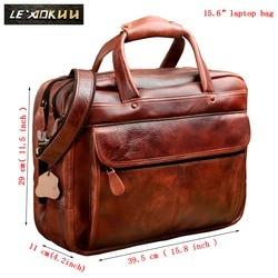 Männer Öl Wachsartige Leder Antike Design Business Aktentasche Laptop Dokument Fall Mode Attache Messenger Tasche Tote Portfolio 7146c