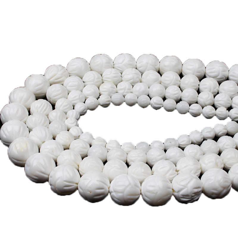 100% Shell Perlen Natürlichen Weißen Lotus Carving Tridacna Shell Stein Buddha Gebet 6 8 10 12mm Perlen Für bBracelet Schmuck machen