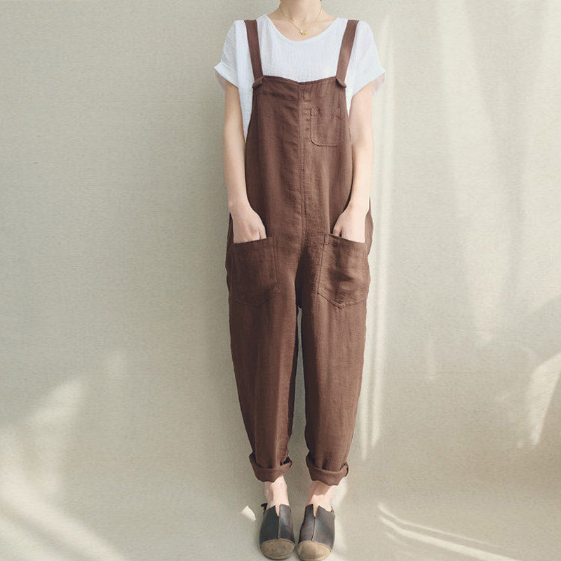 2018 ZANZEA Summer Women Strappy Pockets Casual Solid Dungarees Cotton Linen Long   Jumpsuits   Loose Bib Overalls Rompers Plus Size