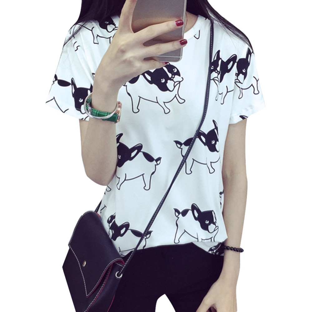 Fashion Summer Women Cartoon O-Neck Hvid Pug Printed Short Sleeve - Dametøj - Foto 1