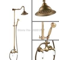 Wall Mounted Classic Antique Brass Shower Head + Handheld Shower Bathroom Rain Shower Faucet Set Mixer Taps Wan515