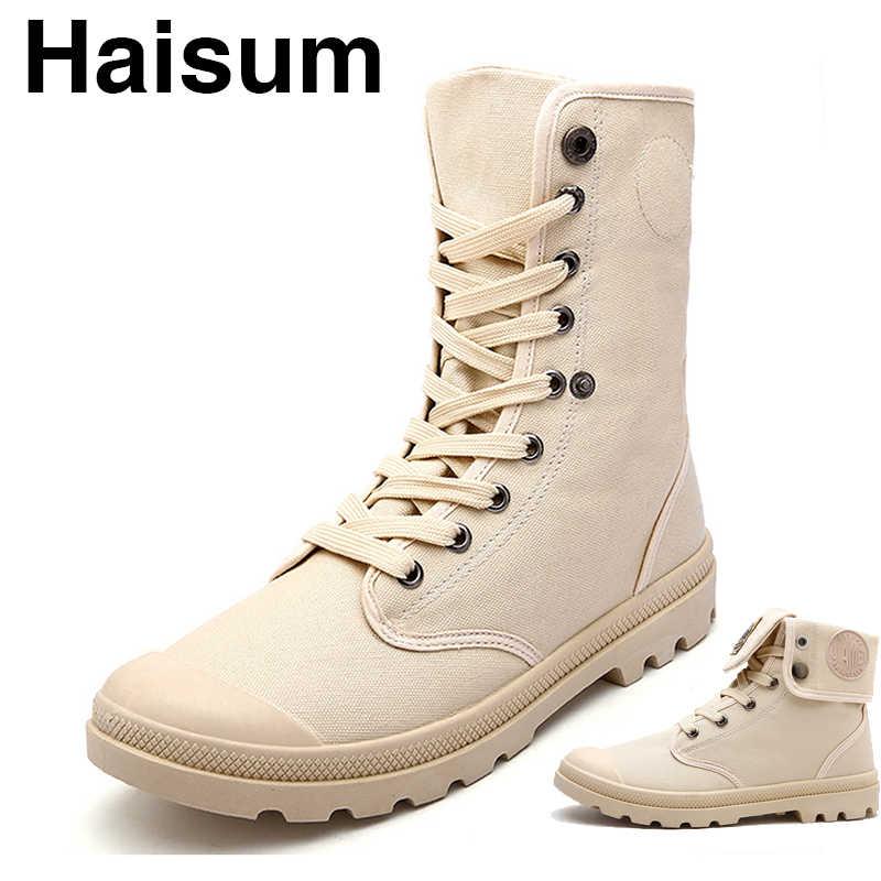 Erkek deri bot botları tuval kumaş yüksek gündelik erkek ayakkabısı H-1328