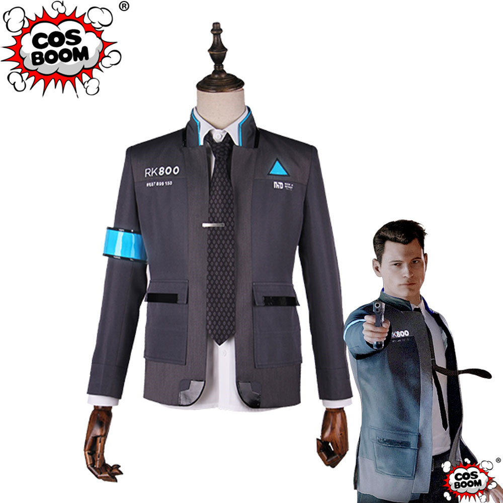 COSBOOM Game Detroit : Become Human Connor Cosplay Costume Men's Jacket RK800 Suit Adult Connor Game Uniform Cosplay Costume