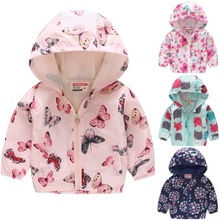 Butterfly Baby Girl Jacket Thin Children Clothes 2-7Year Girls Outwear Hooded Coat Hoodies Zipper Outfits Kids Top Floral Blouse baby jacket spring summer girls sun protective clothing children outwear cardigan girl leisure thin clothes floral sweatshirt