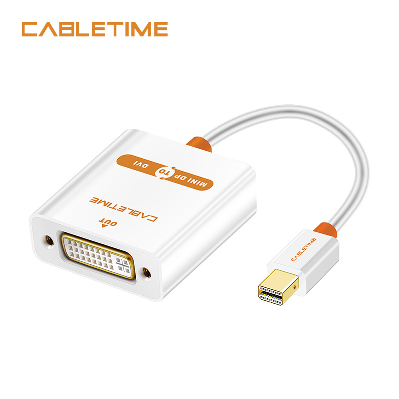 Cabletime Mini Displayport to DVI Cable Male to Female ACTIVE Adapter Thunderbolt Mini DP M to DVI F for MacBook/Pro/Air N012 thunderbolt mini dp to vga cable adapter male to female converter 1080p displayport for hdtv monitor macbook air pro projector