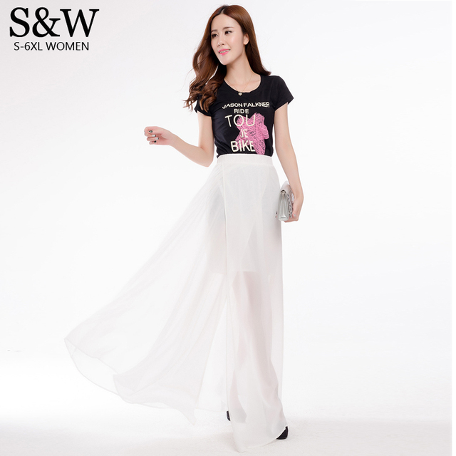 Aliexpress.com : Buy Sexy High Slit Skirts Beach Chiffon White ...