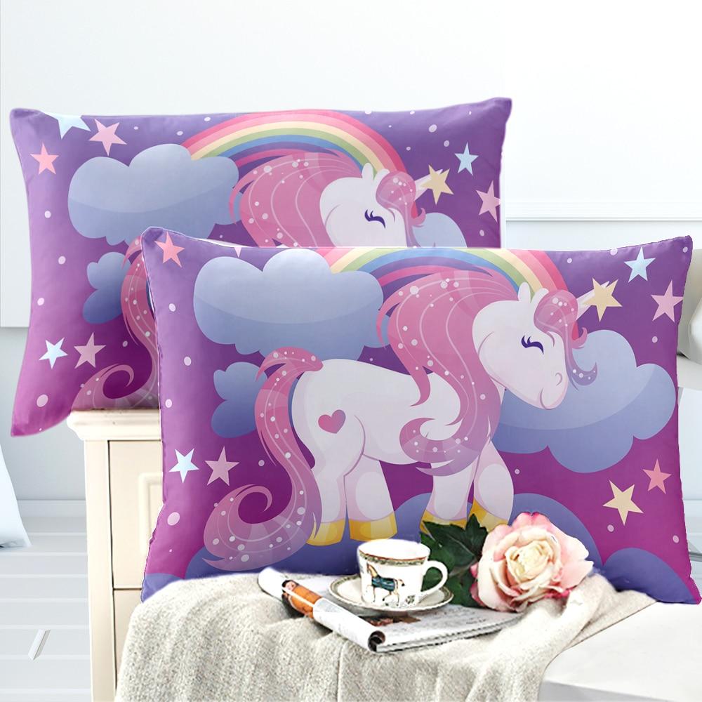 Unicorn Design Pillowcase Girls Cartoon Pillow Case Colorful Rainbow Floral Print Pillow Cover Festival Bedding Home Textile