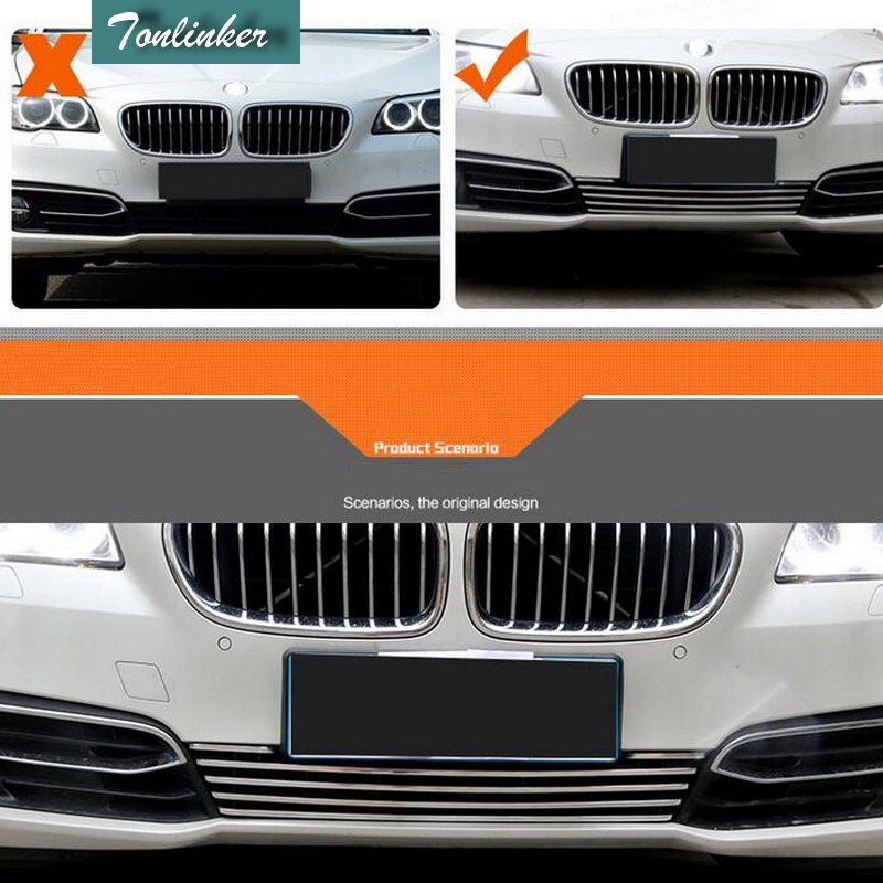 Tonlinker 1 PCS Car DIY NEW Aluminum Front Face of Net Metal Grille Trim Cover Case Stickers for Bmw 5 Series 520 525 Li 2014 tonlinker 1 pcs diy car styling new stainless steel read light decorative light box cover fit for cadilac srx part accessories
