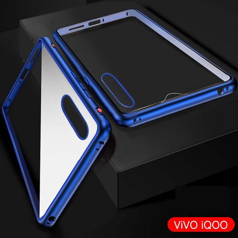 Luxe 360 Front + Back Dubbelzijdig Body Case Metalen Frame Shockproof Voor Achter Glas Magnetische Cover Voor Vivo Iqoo Case Ks0157