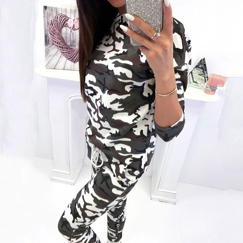 2019 Autumn Tracksuit Set Women Camouflage 2 Piece Set Women Leopard Two Piece Set Top And Pants Long Sleeve Women Set Female