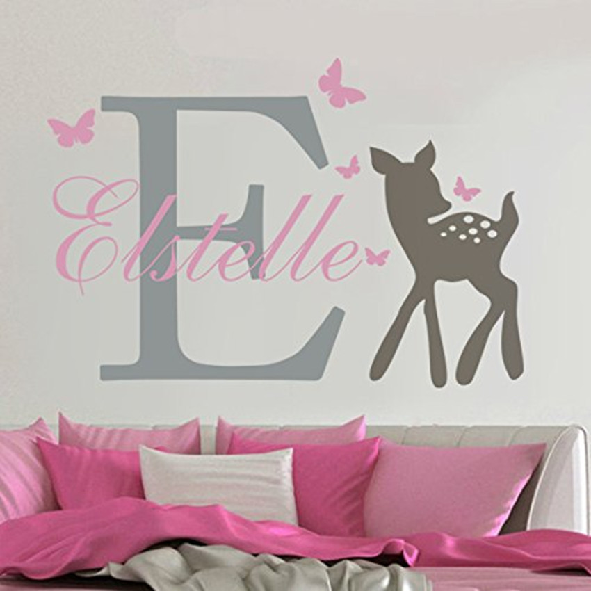 3 culori Particularizați Decals pe perete Fluturi Deer personalizat Nume de bebeluș Perete autocolant Girls Nursery Decal Decor Home Decor KW-121