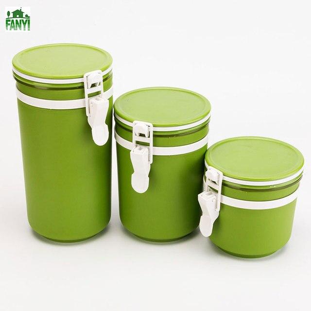 FANYI 3pcs Round Plastic Storage Tank Moisture Sealed Cans Of Food Creative  Kitchen Grains Storage Box