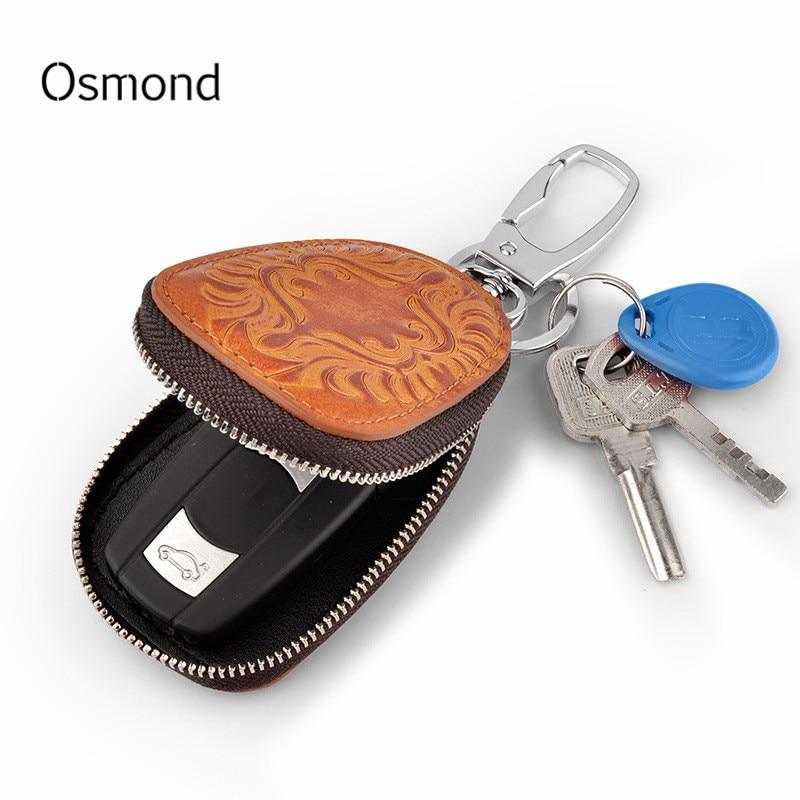 Osmond de los hombres de cuero genuino de las mujeres llave de coche soportes de ama de llaves para hombres Retro multifuncional casa llavero caso mujer cartera