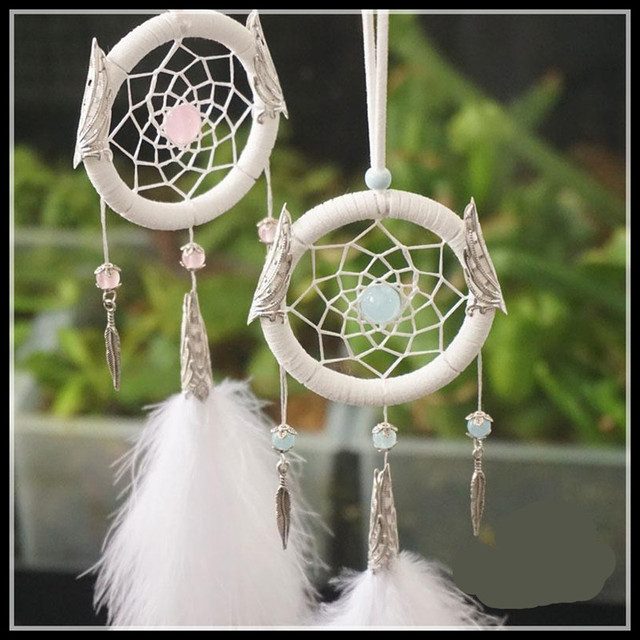 Hecho a mano Atrapasueños Con Perlas De Cristal De Plumas Colgante ...