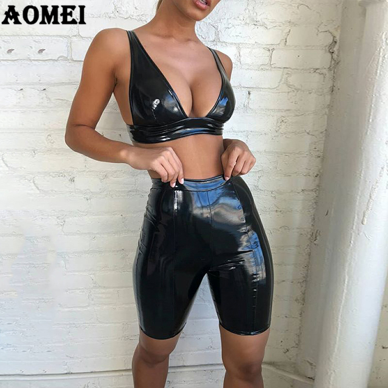 2 Stuk Sets Zomer Voor Vrouwen Sexy Pu Crop Tops Shorts Pak Club Night Party Wear Wetlook Spaghetti Strap Backless Mode 2019 Geurige (In) Smaak