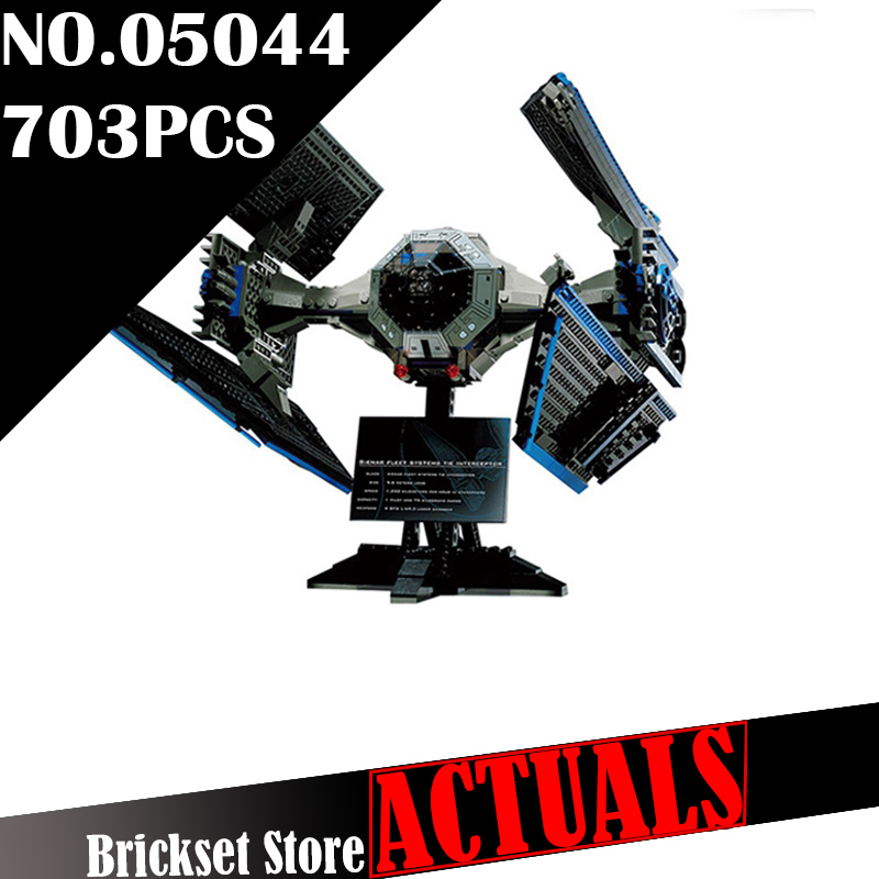 LEPIN 05044 703Pcs Star UCS TIE Interceptor Wars Model Building Kit figures Blocks Bricks DIY Toys for children Compatible 7181 конструктор lepin star plan истребитель tie interceptor 703 дет 05044