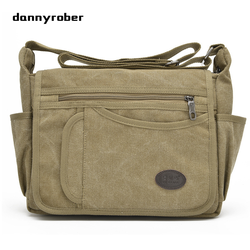 DANNYROBER Unisex Canvas Shoulder Messenger Bags Leisure Multi Pockets Durable Practical Large Capacity Travel Bags New 2017 2016 outdoor shoulder bag unisex nylon casual travel multi phone pouch messenger pockets bags new arrival diagonal package 1pcs