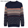 Sweater For Men 2017 New Arrival Autumn Winter Geometric Pattern Casual Slim O-Collar Blusa Masculina M-XXL 2 Colors MZM296