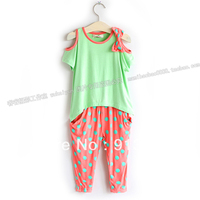 Free Shipping Sale 2013 New Fashion Summer Girl Set Baby Girl Short Sleeve T Shirts Dot