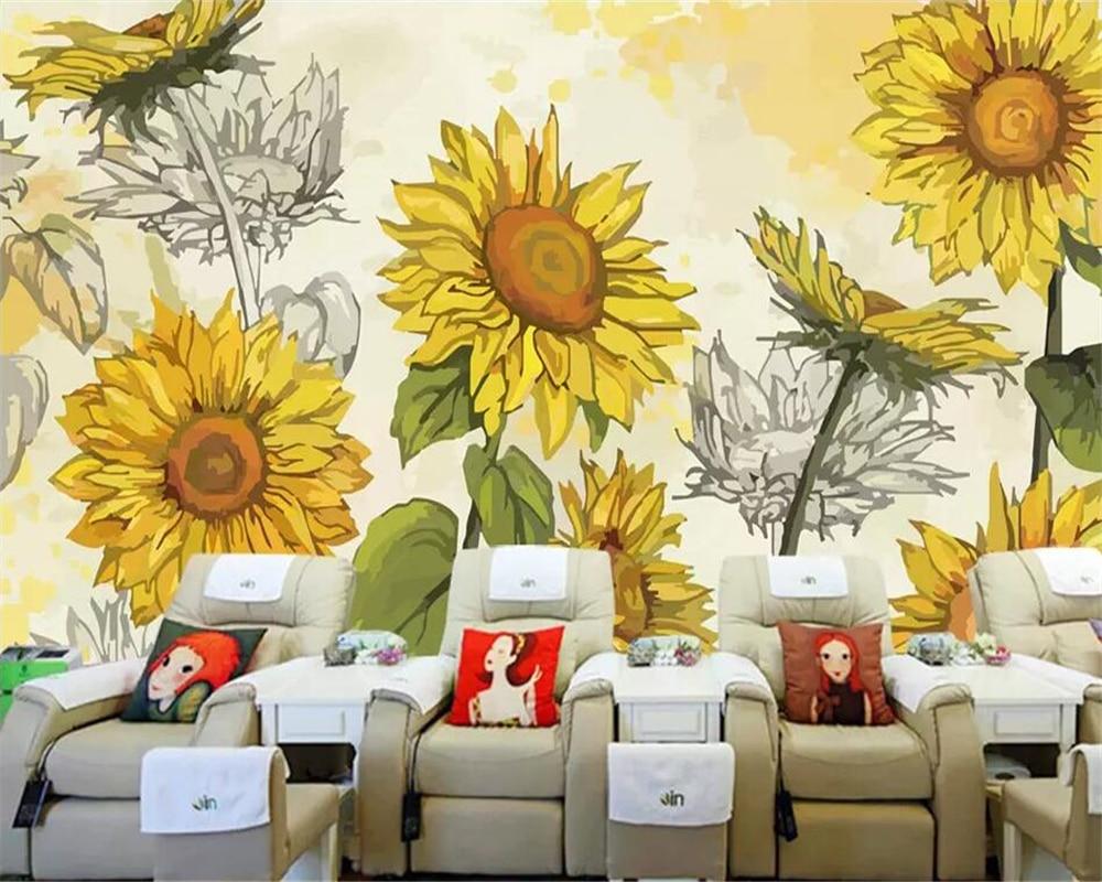 Beibehang 3d Large Wall Mural Wallpaper Hd Bridge At Night: 3d Sunflower Wallpaper