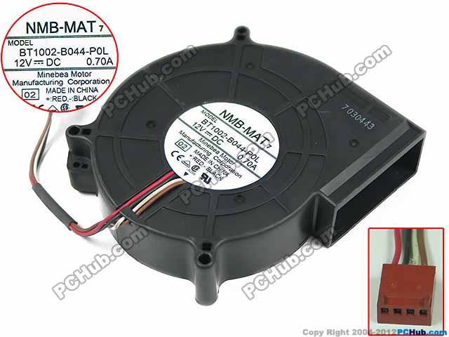 NMB-MAT BT1002-B044-POL 02 Server Cooling Fan DC 12V 0.70A 4-wire 4-pin connector nmb mat 3110kl 04w b49 b02 b01 dc 12v 0 26a 3 wire server square fan
