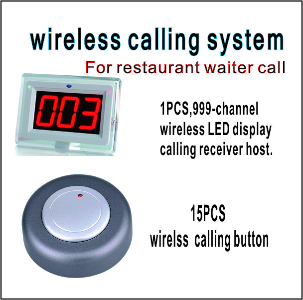 Wireless Restaurant call system restaurant equipment including 999-channel LED display receiver with 15 PCS calling  button wireless service call bell system popular in restaurant ce passed 433 92mhz full equipment watch pager 1 watch 7 call button