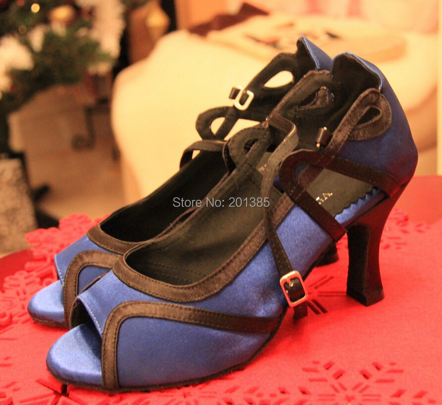Wholesale Women Blue Satin Ballroom LATIN font b Dance b font Shoes SALSA font b Dance
