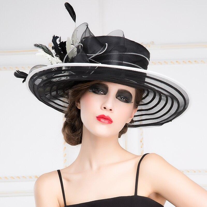 Lady New Organza Fedoras Hat Female Fashion Ogan Yarn Hat Wide Brim Sunscreen Outdoor Travel Cap British Dress Party Hat B-8196