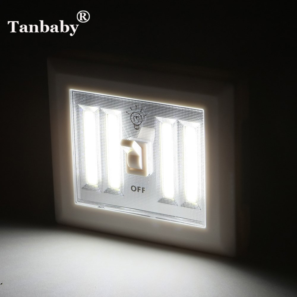 Tanbaby 7W COB Led Novelty Lamp Indoor Wall Light 4 Pcs AA Battery Powered With Switch On/off Super Bright For Kids,Cabinet