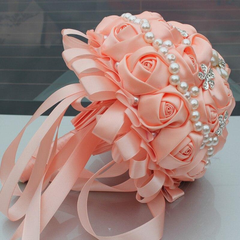 Champán Ramos nupciales Satén Rosa Perlas Artificial Boda Broche - Para fiestas y celebraciones - foto 3