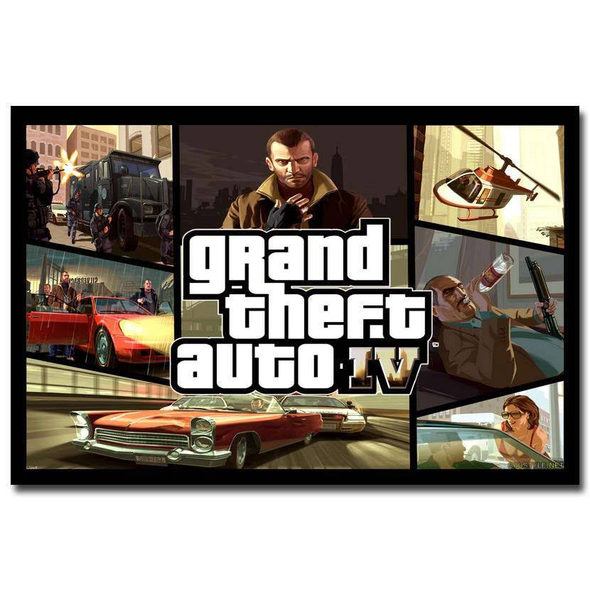 NICOLESHENTING Grand Theft Auto V Game Art Silk Poster Print 12x18 32x48 inches GTA 5 Wall Pictures For Living Room 24