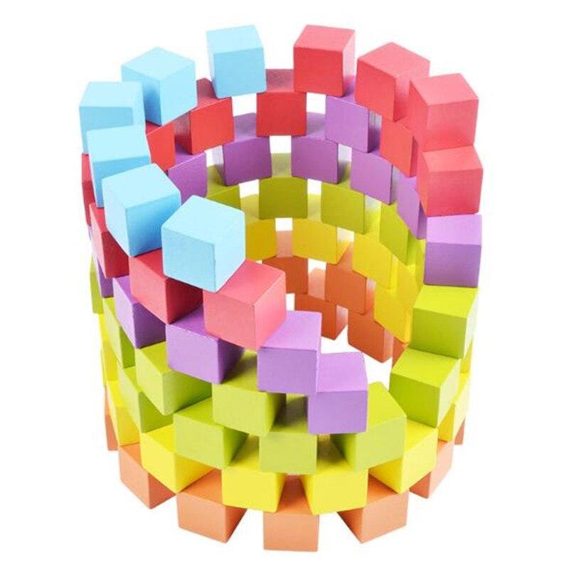 100 Stks/partij Houten Baby Bouwstenen Kleurrijke Geometrische Gemonteerd Bouwstenen Vroegschoolse Educatieve Houten Speelgoed Gift En Om Een Lang Leven Te Hebben.