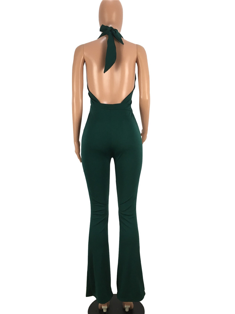 women sexy deep v backless lace-up halter flare pants jumpsuit-6
