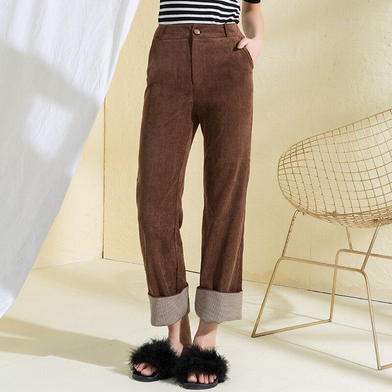 Taille haute Pantalon Décontracté Femmes Coréenne Automne Casual Foncé Café En Velours Côtelé Pantalon pour Femmes Lâche Taille Haute En Velours Côtelé Pantalon