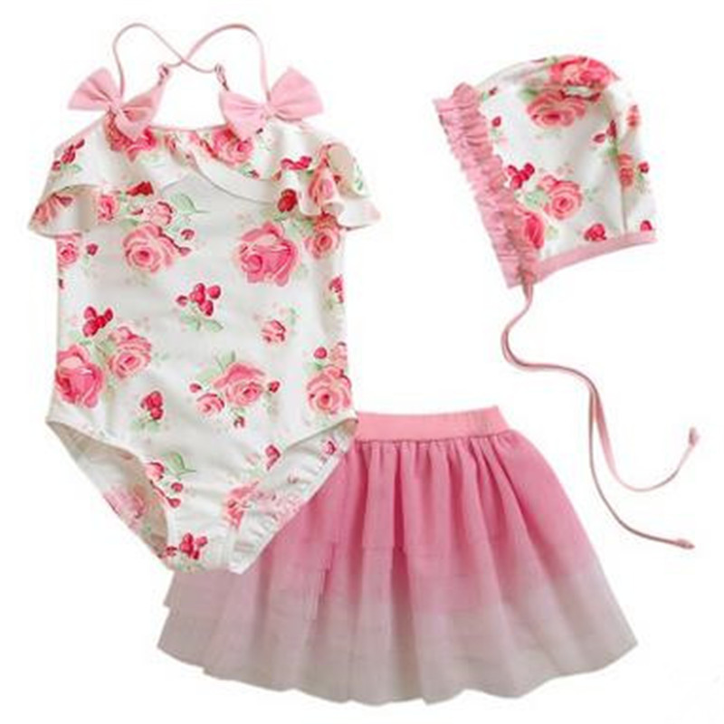 3-11 Y Girls Floral Swimwear 2016 High Quality Pink One Piece Swimsuit+mesh Dress+swimming Cap 3 Piece Set Baby Girl Beach Wear To Reduce Body Weight And Prolong Life