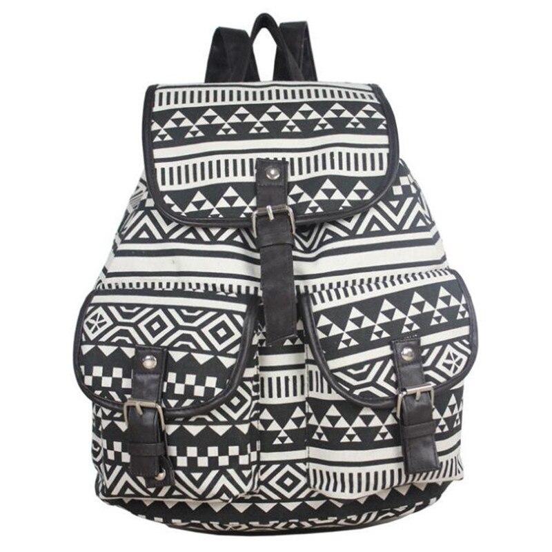 2017 New School Bag Bohemian Vintage Women Backpack Teenager Student Grils Printing Canvas Bag Ladies Travel