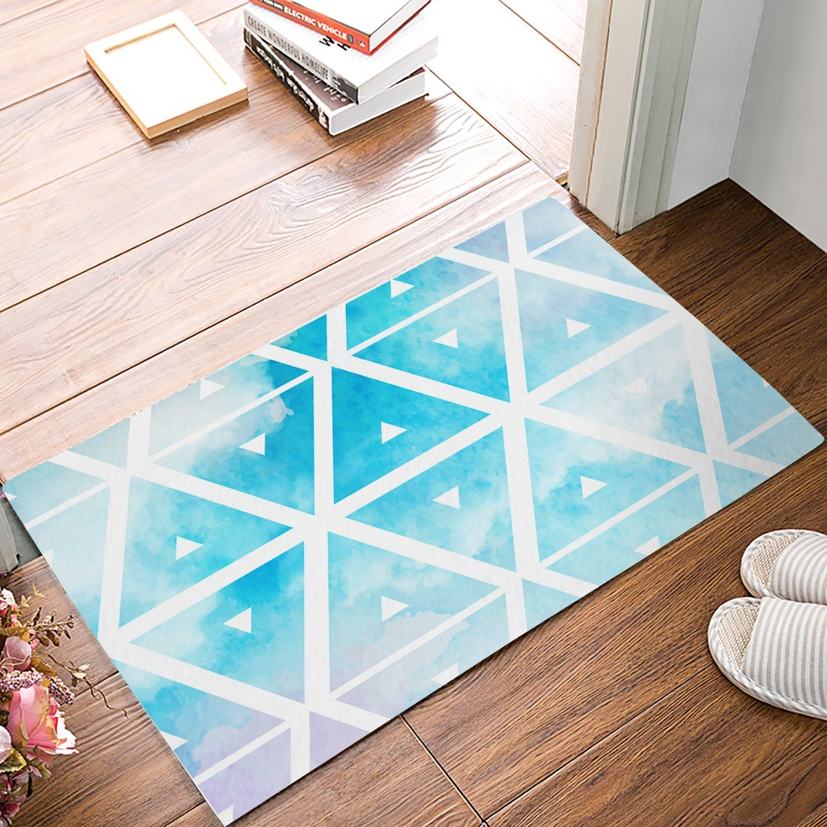 Fashion Blue Watercolor Rhombus Door Mats Kitchen Floor